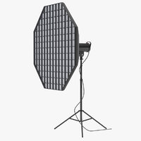 studio monolight octabox grid 3D model