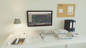 3D office set architect