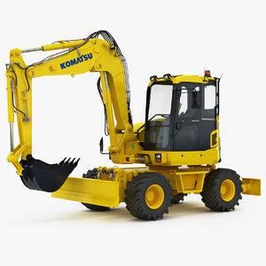 3D wheeled excavator komatsu pw98mr-8