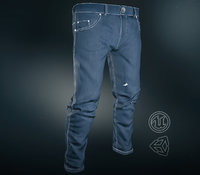 blue jeans pants 3D