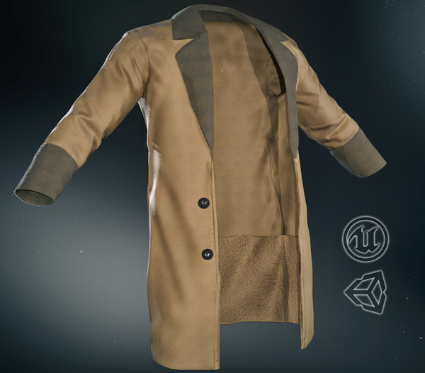 3D model brown coat