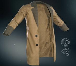 3D model brown coat