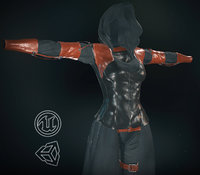 3D post apocalyptic female clothing