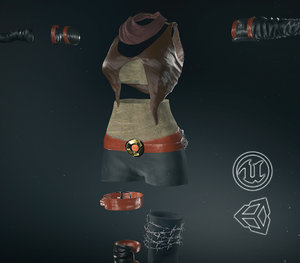 post apocalyptic female clothing 3D model