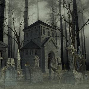 3D graveyard cemetery remains