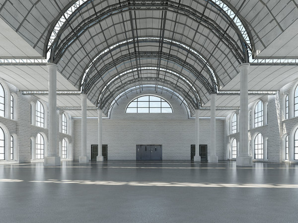 large architectural interior modeled 3D