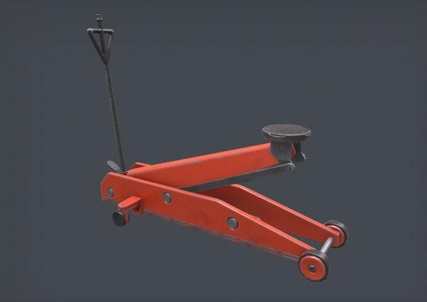 3D floor jack hydraulic trolley model