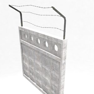 barbed wire fence gate 3D model