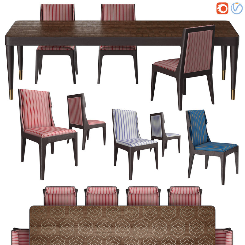 table chairs 6528 century 3D model