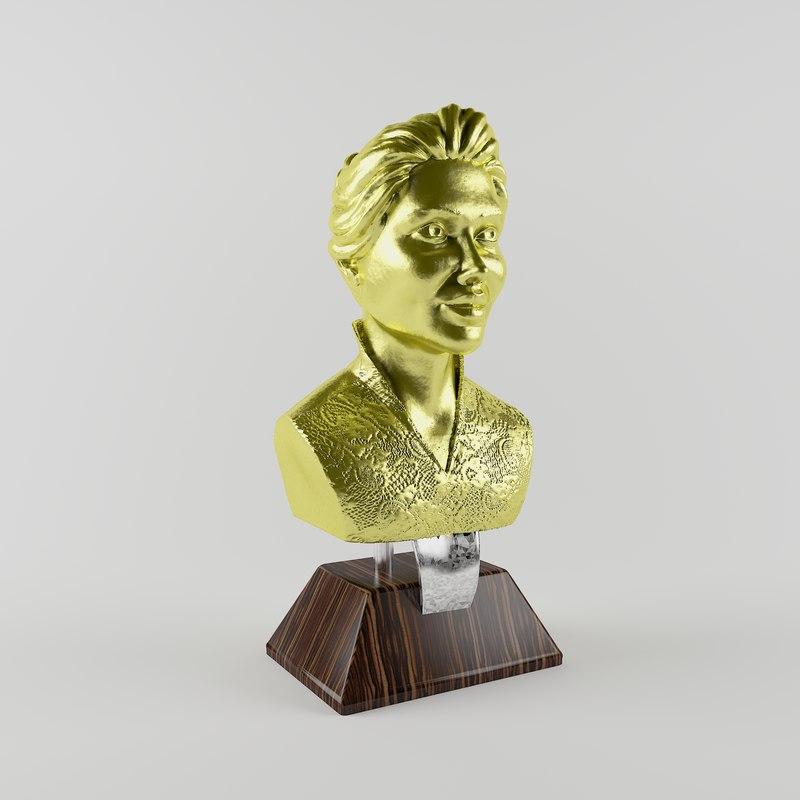 3D faceman statue