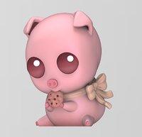 3D chibi cute pig model