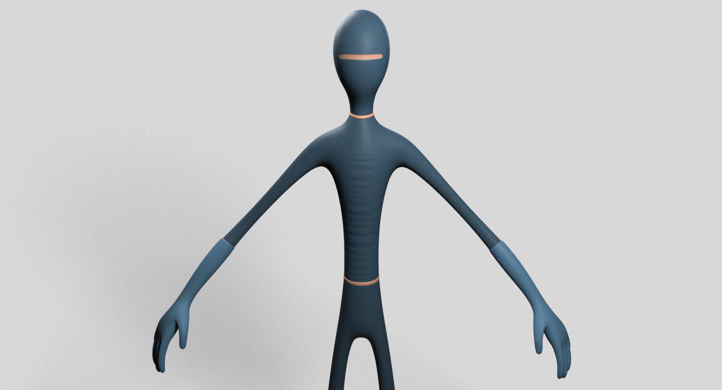 slim hero character 3D model