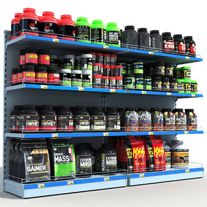3D model sports store nutrition shelves