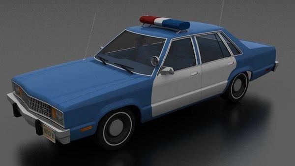 fairmont 4dr 1978 police 3D model