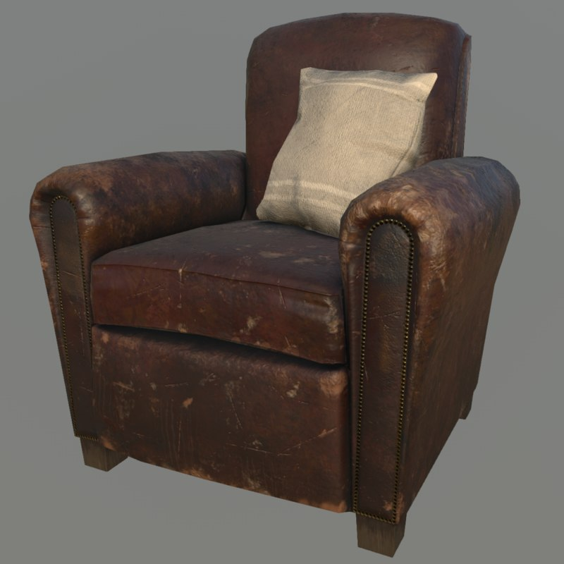 3D old armchair model