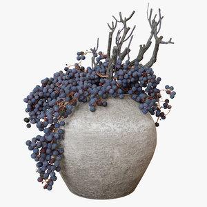 decor dry grape ceramic 3D model
