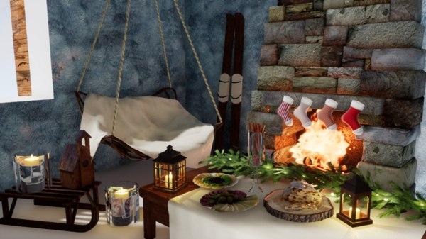 3D set furniture norvedem fireplace