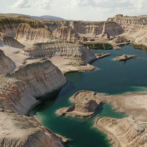 canyon lake 16k scene 3D model