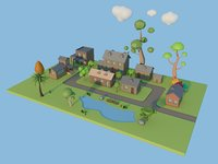 modeled toon town cartoon trees 3D model