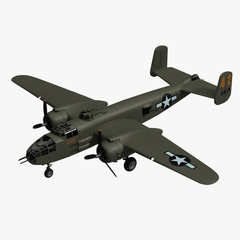 3D model b-25 mitchell bomber