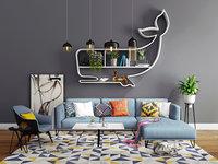 3D sofa set interior model