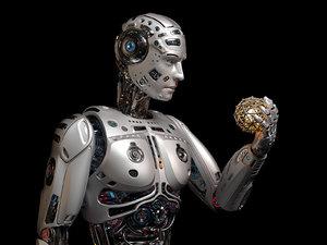3D futuristic robot man rigged