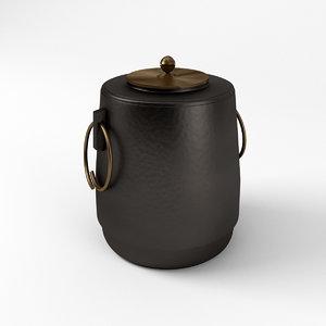3D cast iron tea pot model