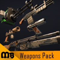 pack weapons rifle 3D model