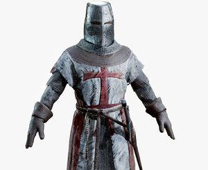 crusader knight helmet sword 3D
