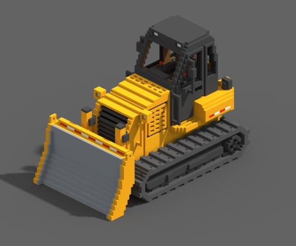 3D voxel bulldozer model