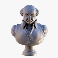 john adams president bust 3D model