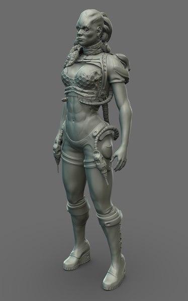 3D ethion - female engineer model