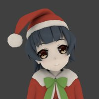 3D girl anime christmas