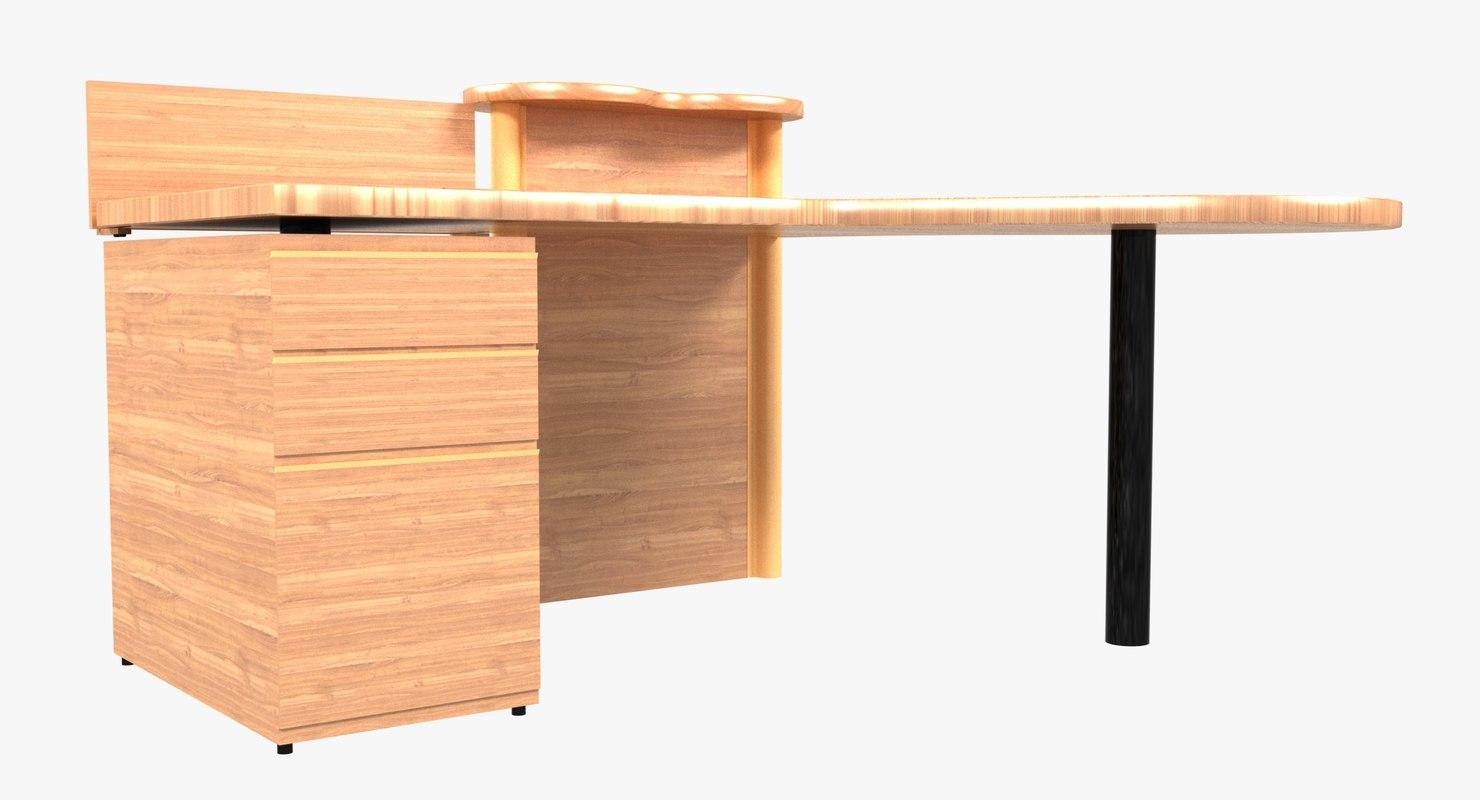 3D modern art deco desk model