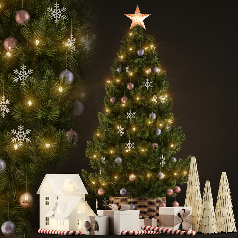3D new year christmas tree