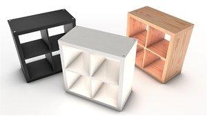3D model complete ikea kallax shelf