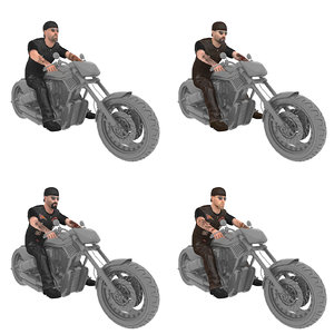 3D pack rigged biker