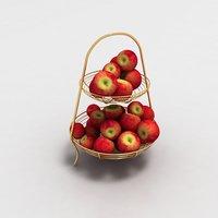 wooden basket apples 3D