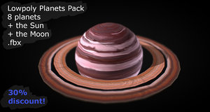 3D solar 8 planets pack model