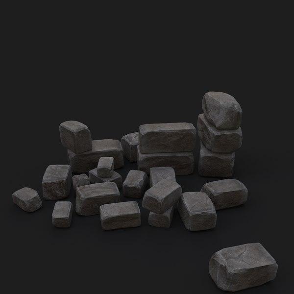 old bricks 3D model