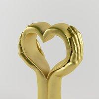 3D model golden hand