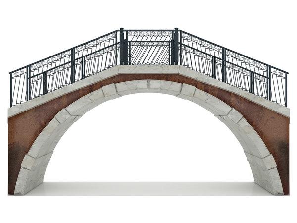 3D model old style venice bridge
