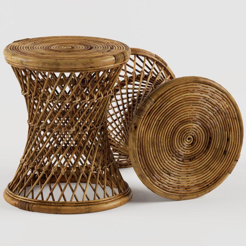 calero rattan stool table 3D model