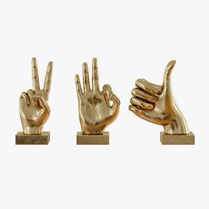 3D metallic hand 3 piece