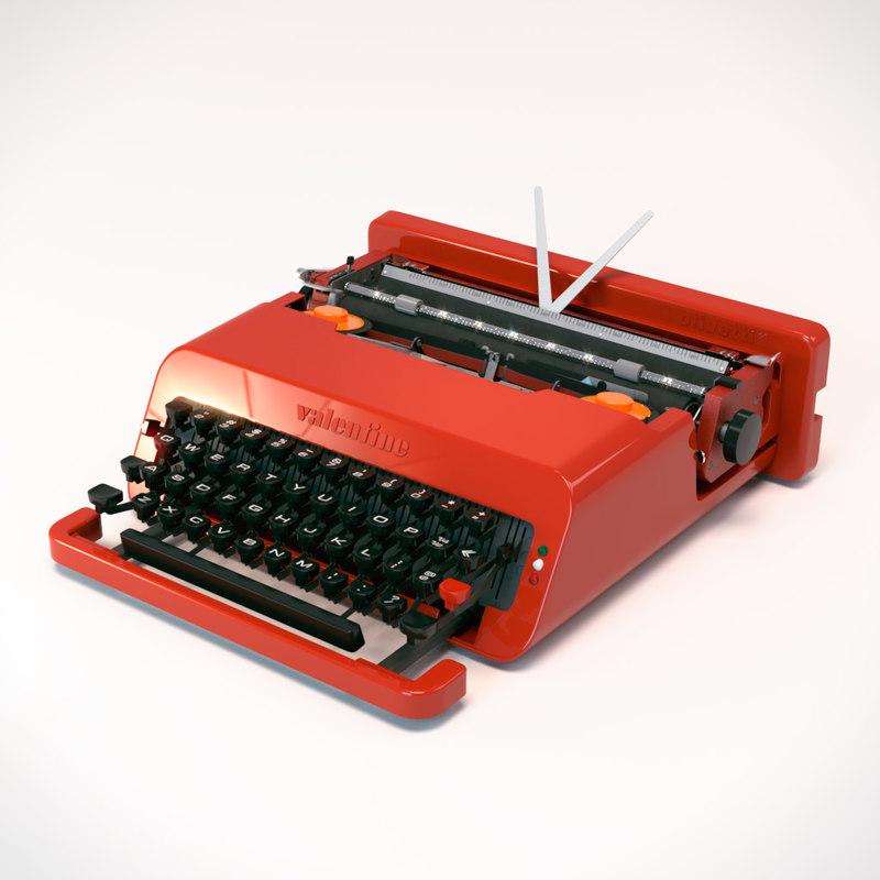 3D olivetti valentine typewriter model