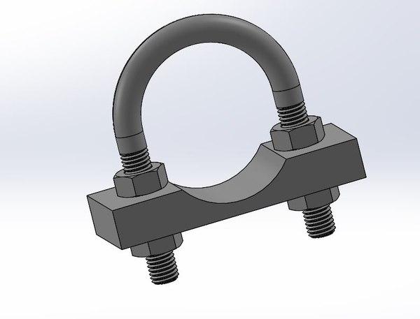 u-bolts clamps 3D model