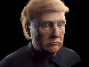 3D head donald trump