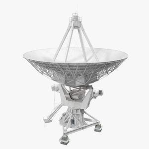 big parabolic satellite dish 3D model