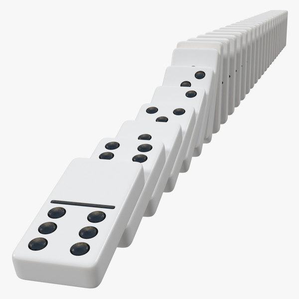 3D white domino knuckles falling