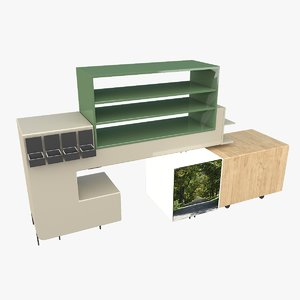3D grocery store shelve model